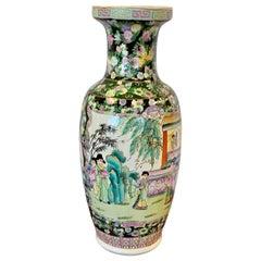Tall Asian Chinese Famille Noir Porcelain Urn Vase
