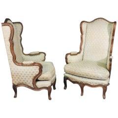 Tall Back French Louis XV Walnut 5-Leg Occasional Lounge Chairs, circa 1900 Pair