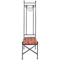 Tall Back Sculptural Wrought Iron Chair in the Manner of Mackintosh