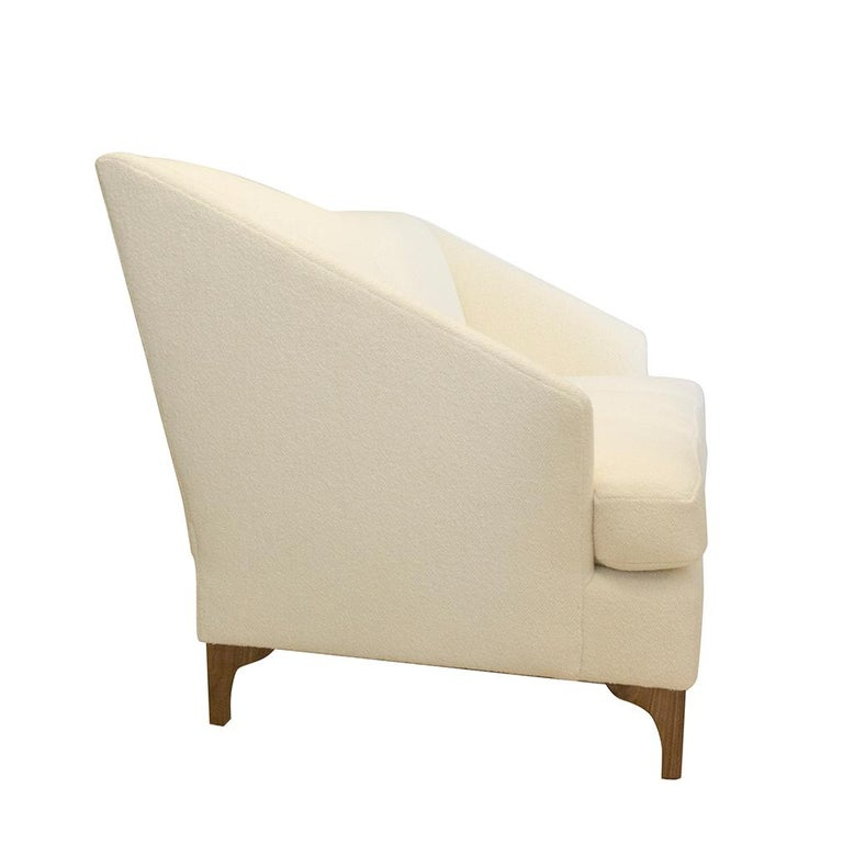 Modern Winged Sofa with Tall Back and Loose Cushions For Sale