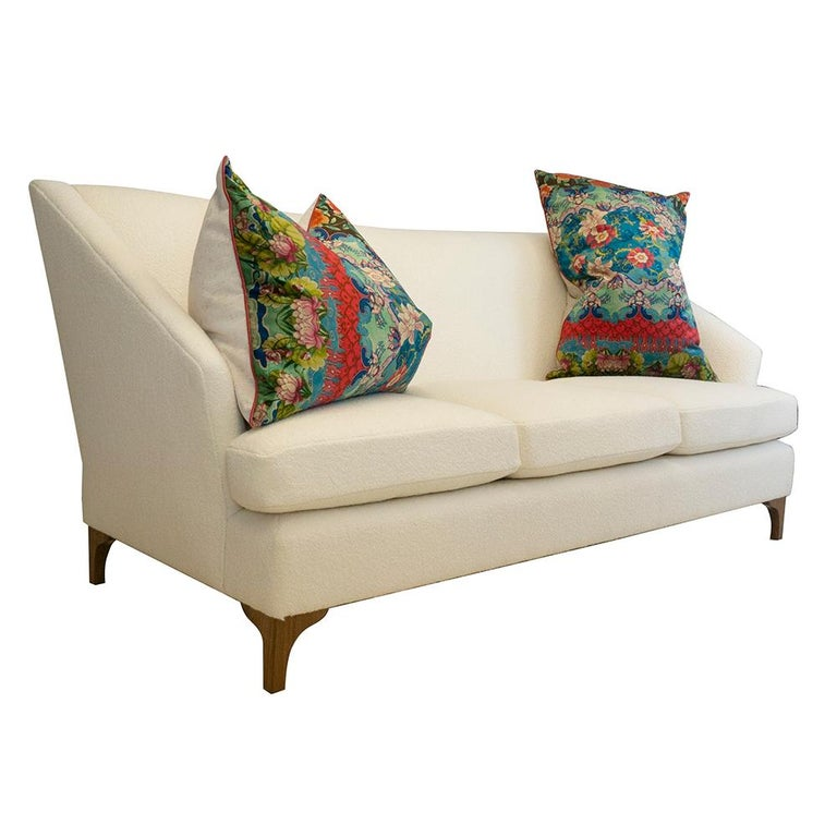 American Winged Sofa with Tall Back and Loose Cushions For Sale