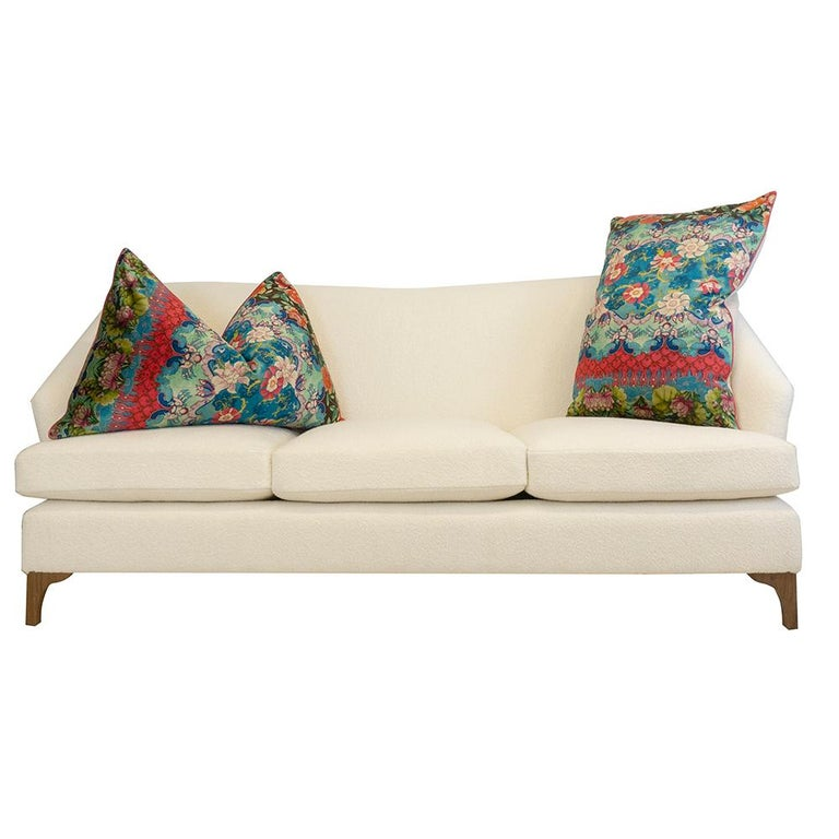 Contemporary Winged Sofa with Tall Back and Loose Cushions For Sale