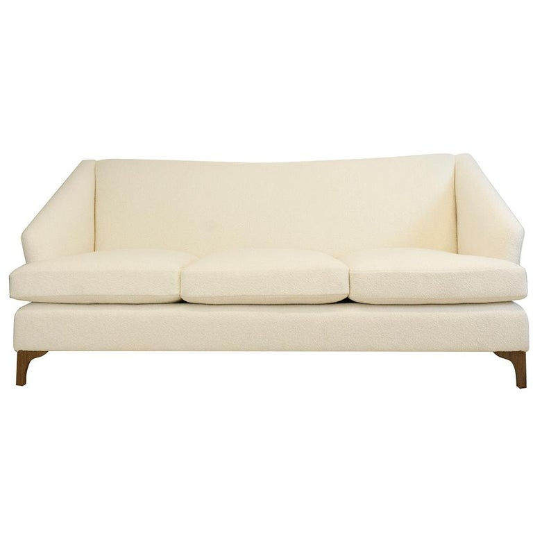 Winged Sofa with Tall Back and Loose Cushions For Sale