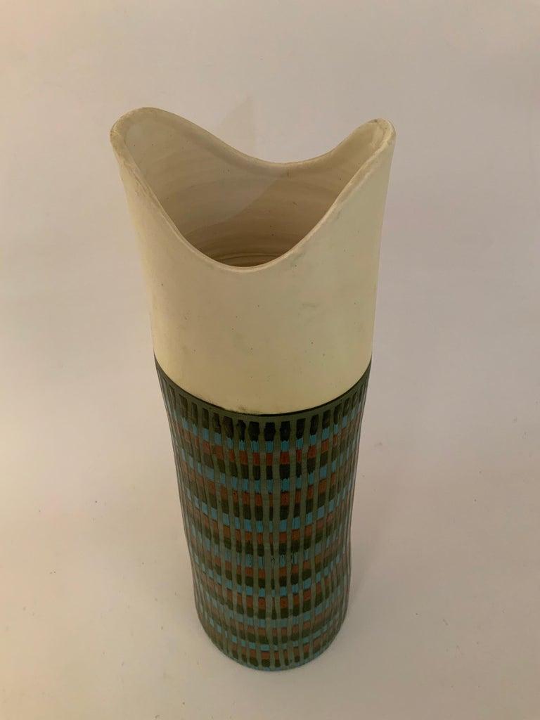 Mid-Century Modern Tall Bitossi Italian Pottery Vase For Sale