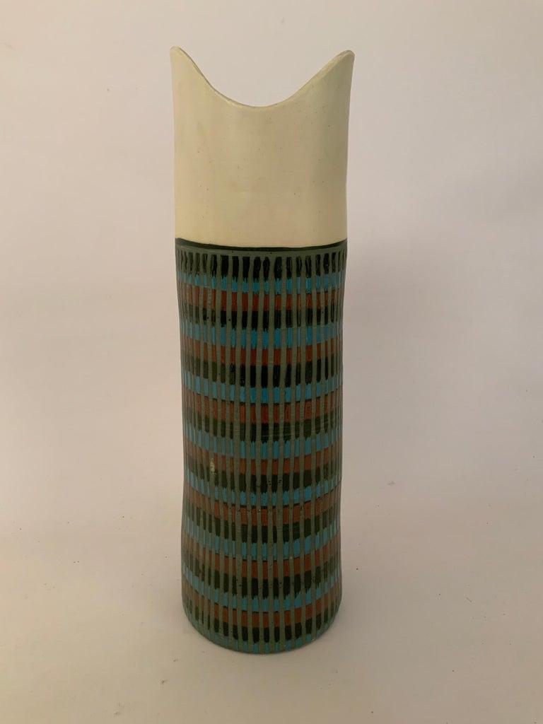 Mid-20th Century Tall Bitossi Italian Pottery Vase For Sale