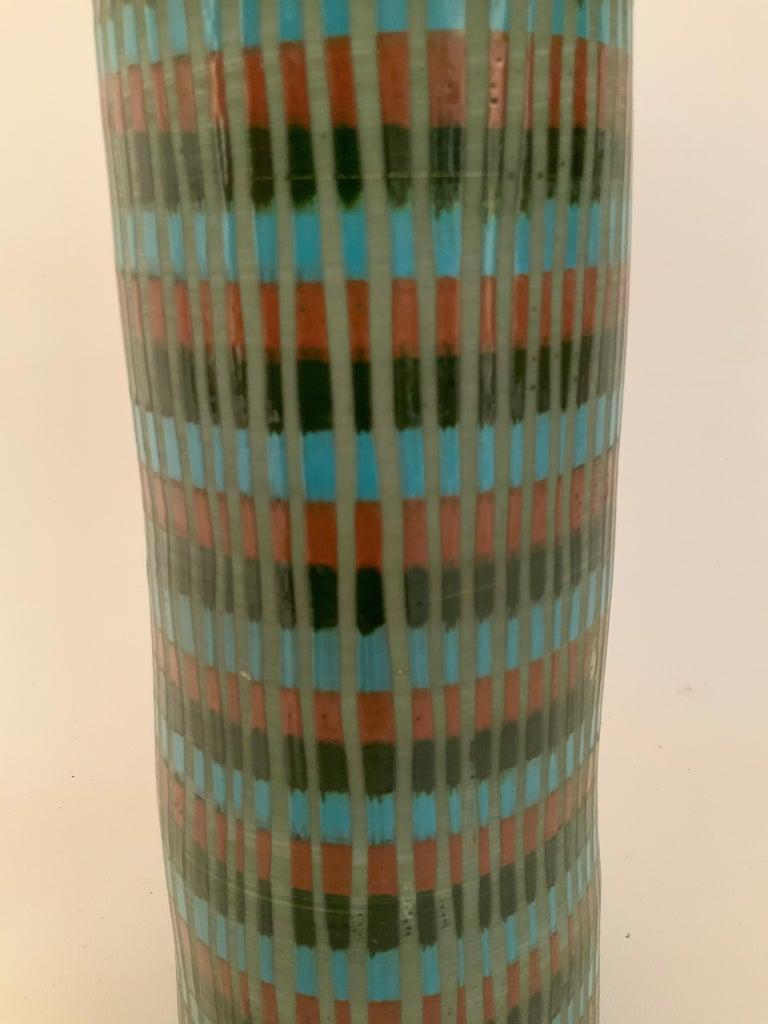 Ceramic Tall Bitossi Italian Pottery Vase For Sale