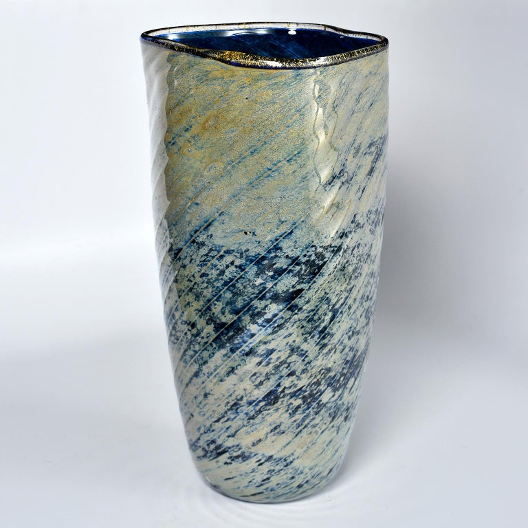 Mid-Century Modern Tall Blue and Green Art Glass Vase with Black Lip