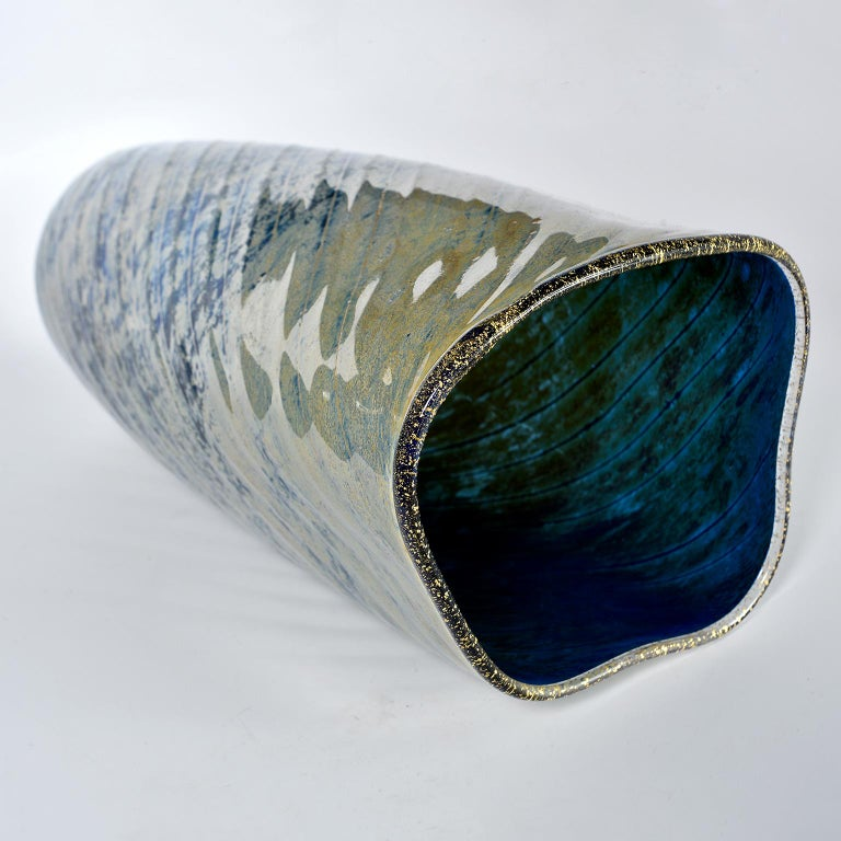 European Tall Blue and Green Art Glass Vase with Black Lip