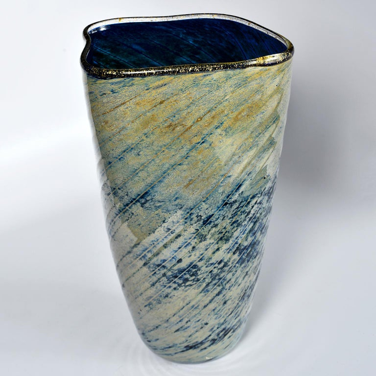 Tall Blue and Green Art Glass Vase with Black Lip 1