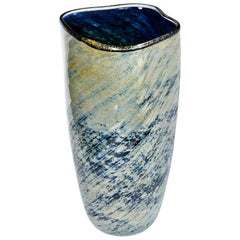Tall Blue and Green Art Glass Vase with Black Lip