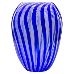 Tall Blue and White Filigree Zanfirico Murano Glass Vase