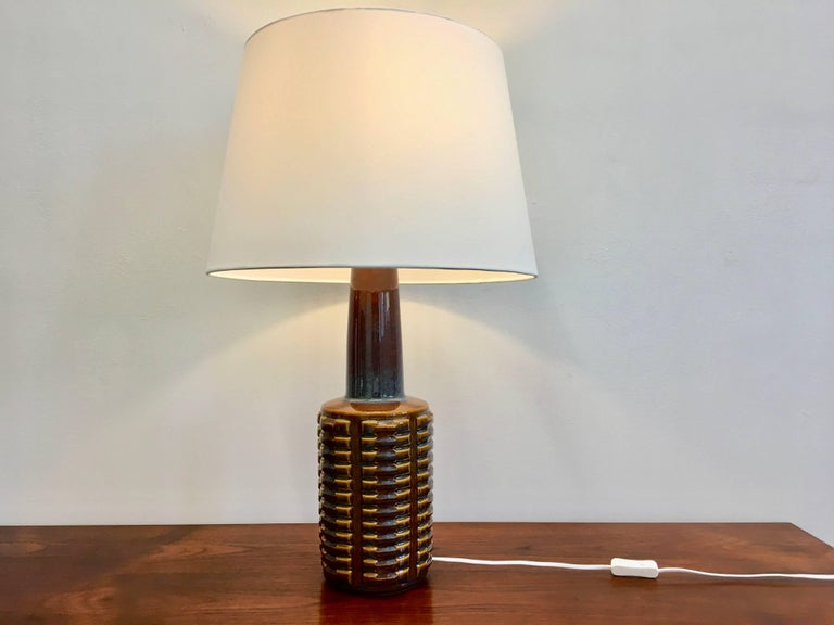 20th Century Tall Blue and Yellow Danish Ceramic Table Lamp by Einar Johansen for Soholm For Sale