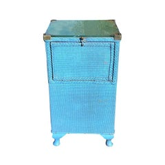 Tall Blue Square Wood Wicker Storage Table with Hidden Hamper and Brass Hardware