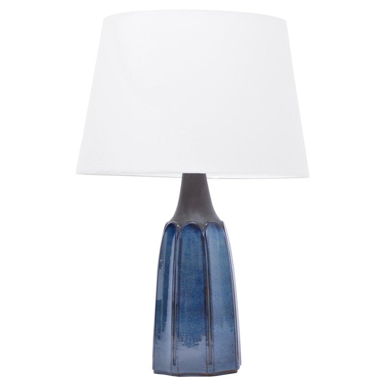Tall Blue Stoneware Table Lamp Model 1042 by Einar Johansen for Søholm For Sale
