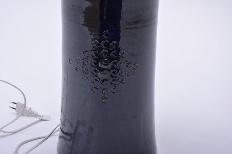Glazed Tall Blue Vintage Danish Ceramic Table Lamp, 1970s For Sale
