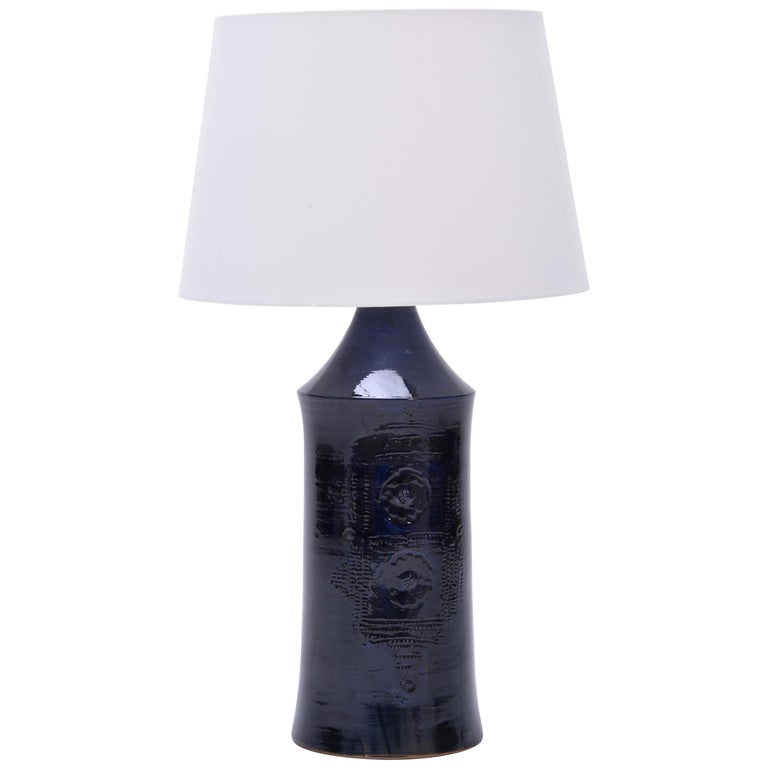 Tall Blue Vintage Danish Ceramic Table Lamp, 1970s For Sale