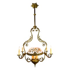 Tall Brass 10 Candle Victorian Chandelier