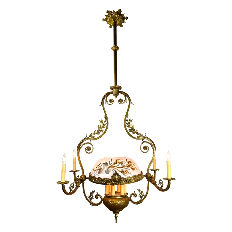 Tall Brass 10 Candle Victorian Chandelier For Sale