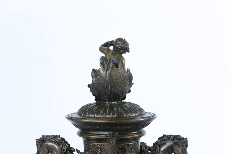 Tall Bronze Covered Decorative Urn / Piece For Sale 6