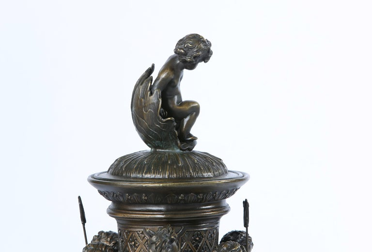 Tall Bronze Covered Decorative Urn / Piece For Sale 4