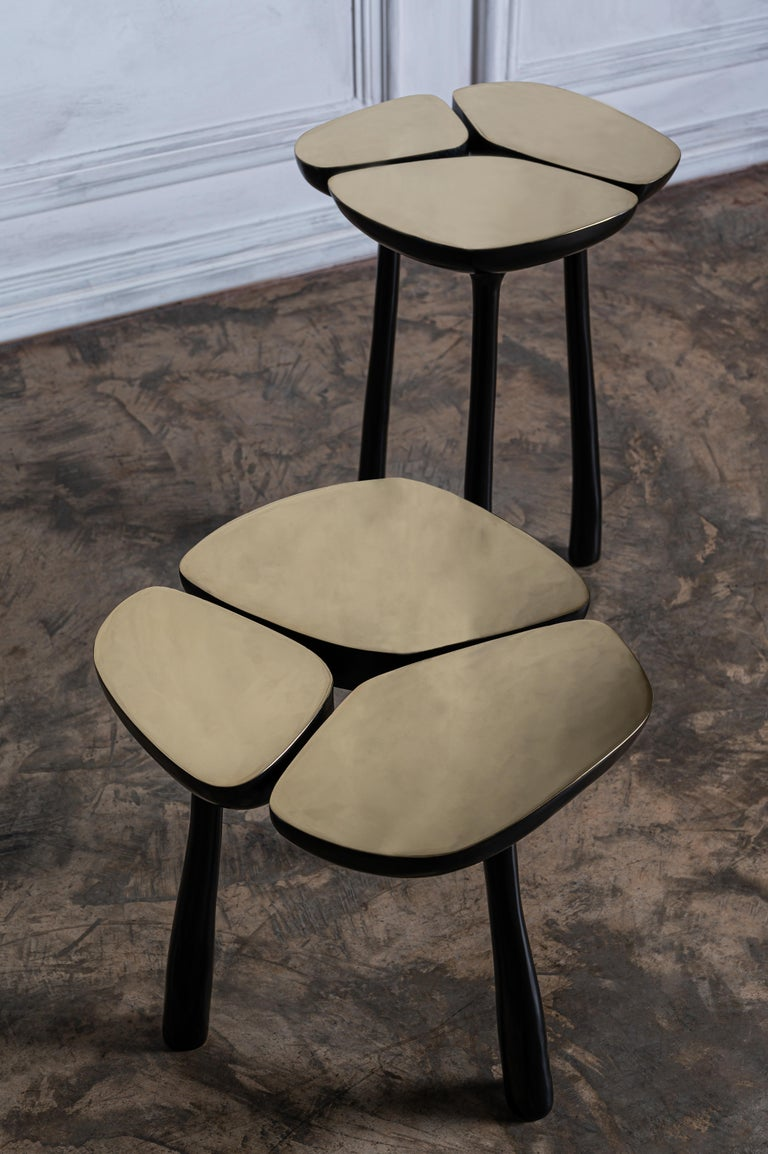 Modern Tall Bronze Jasper Side Table in Gold Bronze and Dark Bronze by Elan Atelier For Sale