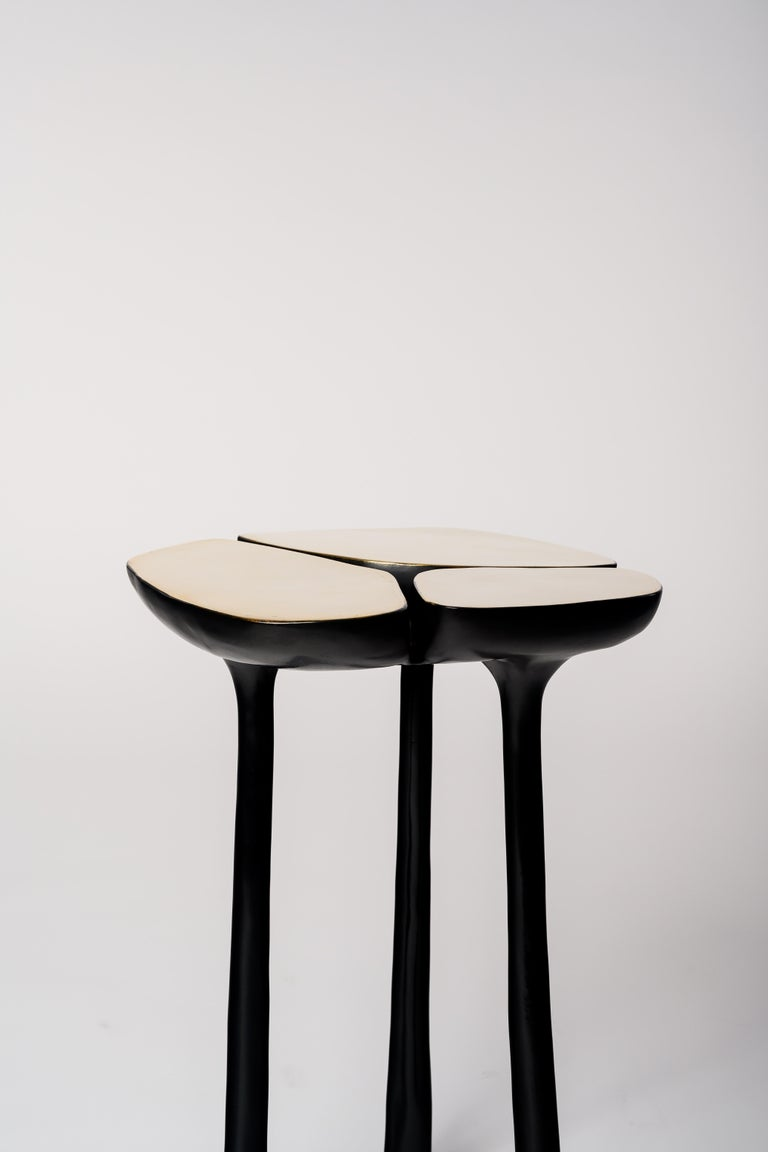 Contemporary Tall Bronze Jasper Side Table in Gold Bronze and Dark Bronze by Elan Atelier For Sale