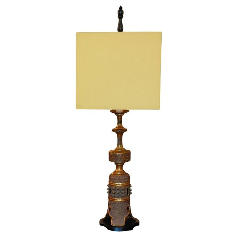 Tall Bronze Oriental style table lamp by Marbro