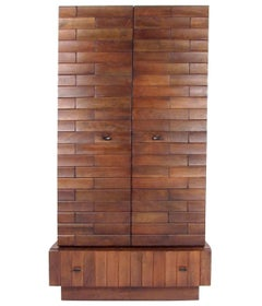Tall Brutalist Modern Armoire Dresser