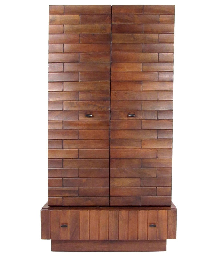 tall brutalist modern armoire dresser for sale at 1stdibs. Black Bedroom Furniture Sets. Home Design Ideas