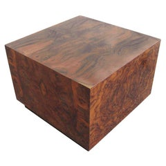 Tall Burled Square Cocktail Table