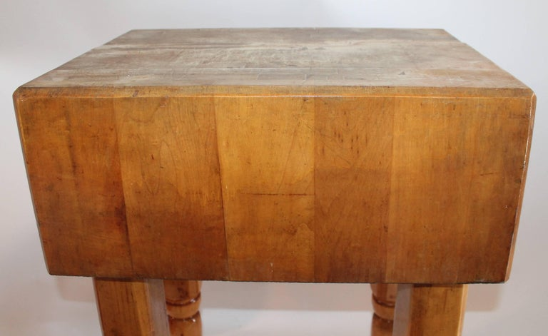 Tall Butcher Block Table In Good Condition For Los Angeles Ca