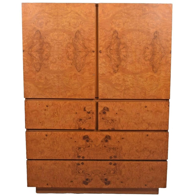 Tall Cabinet with Burl Maple Front by Lane Furniture For Sale
