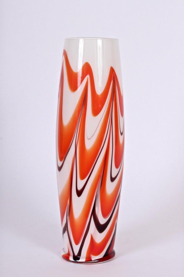 Tall Carlo Moretti Burgundy, Orange and White