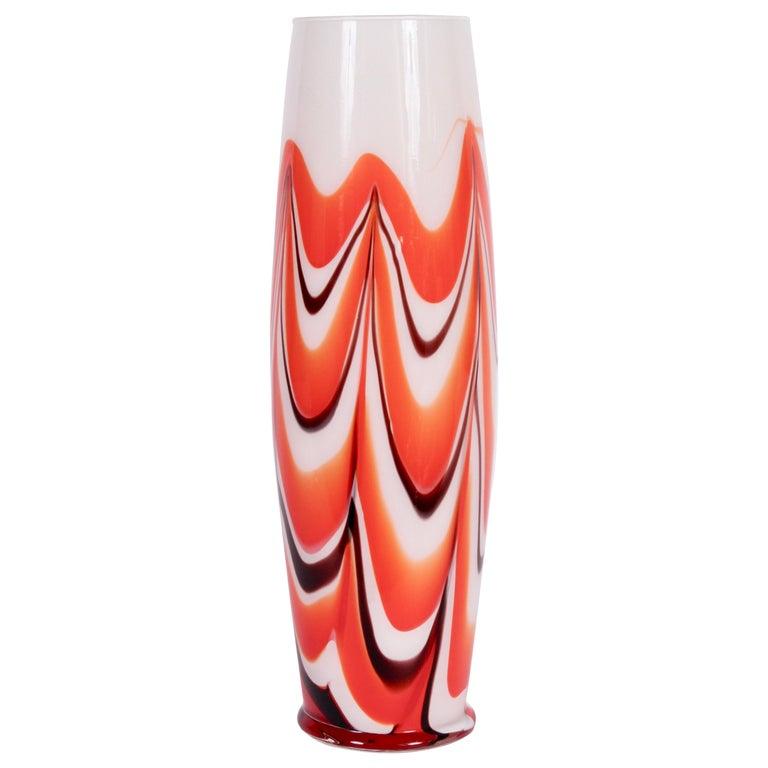 "Tall Carlo Moretti Burgundy, Orange and White ""Marbled"" Murano Vase, circa 1970 For Sale"