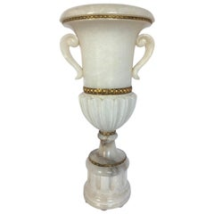 Tall Carved Alabaster Marble and Bronze Urn Table Lamp, Italy