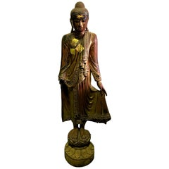 Tall Carved Wood and Gilt Standing Temple Shrine Buddha, Early 20th Century