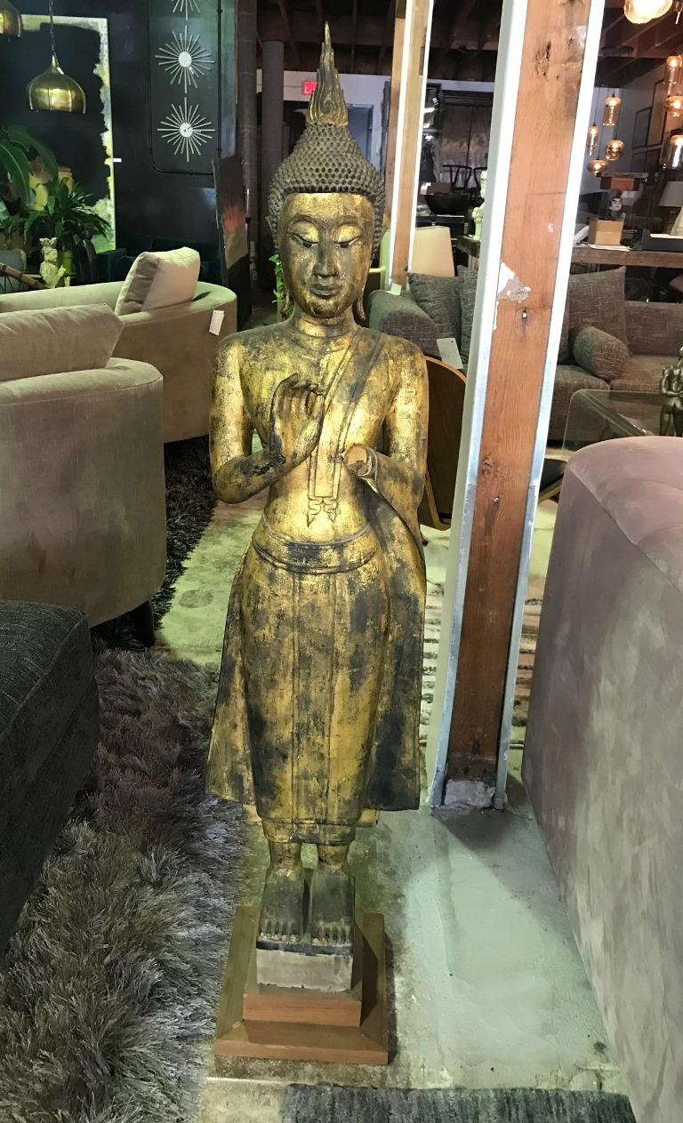 Tall Carved Wood and Gilt Standing Temple Shrine Buddha For Sale 8