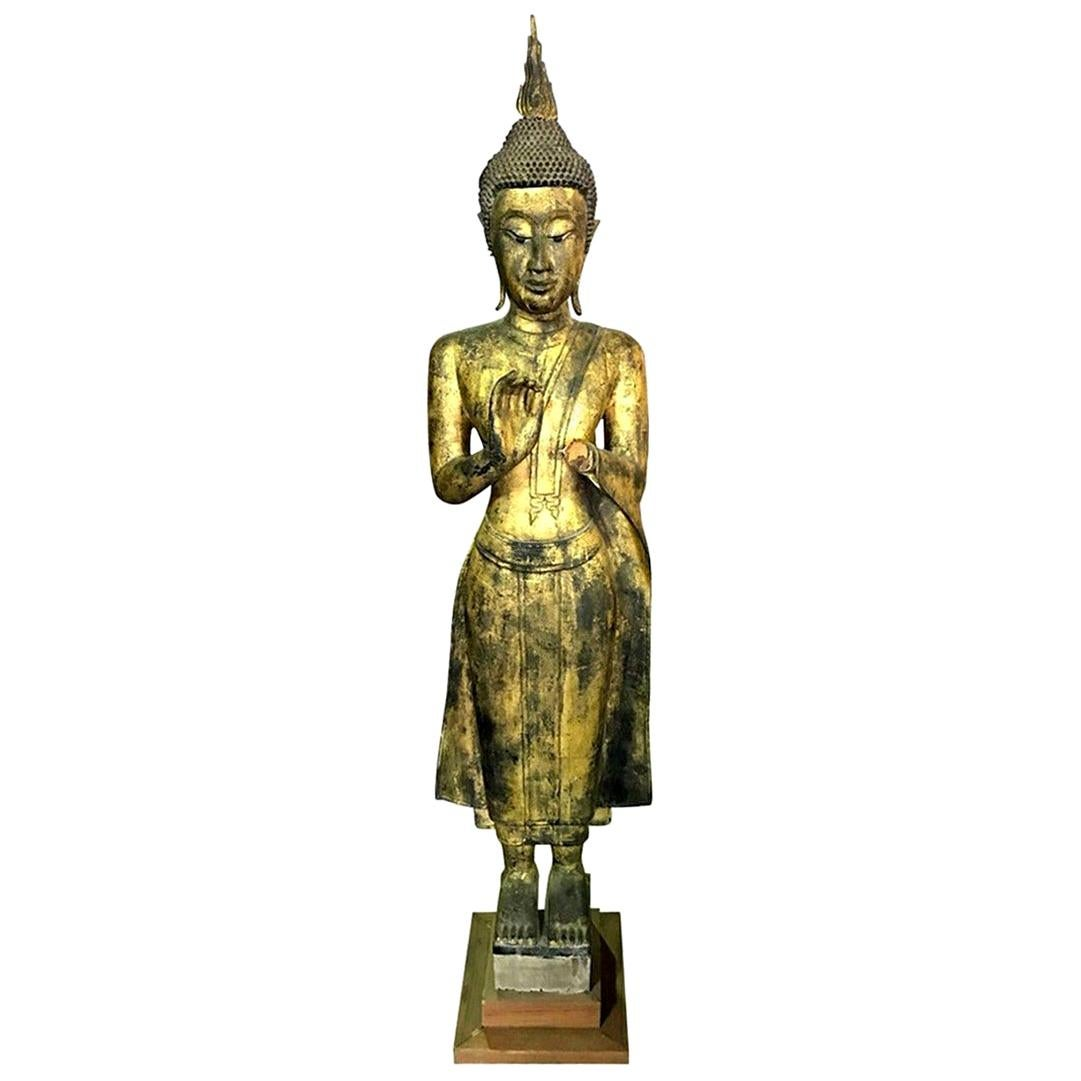 Tall Carved Wood and Gilt Standing Temple Shrine Buddha