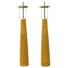 Tall Carved Wood Lamps in Marigold Yellow