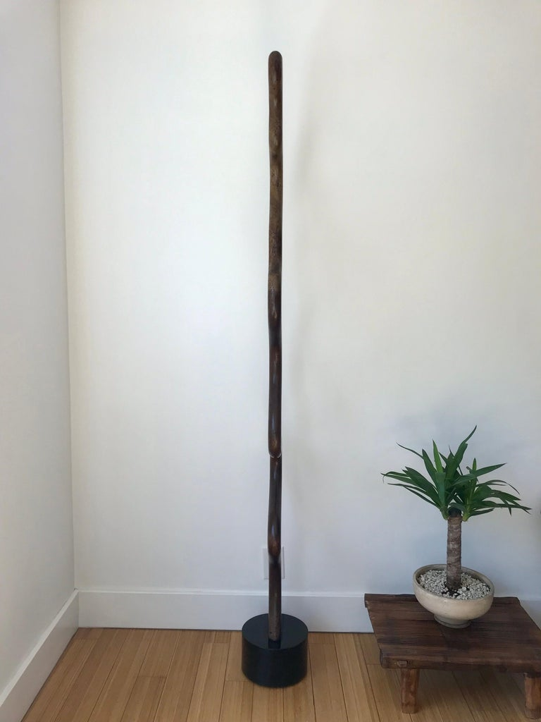 Modern Tall Carved Wood Sculpture For Sale