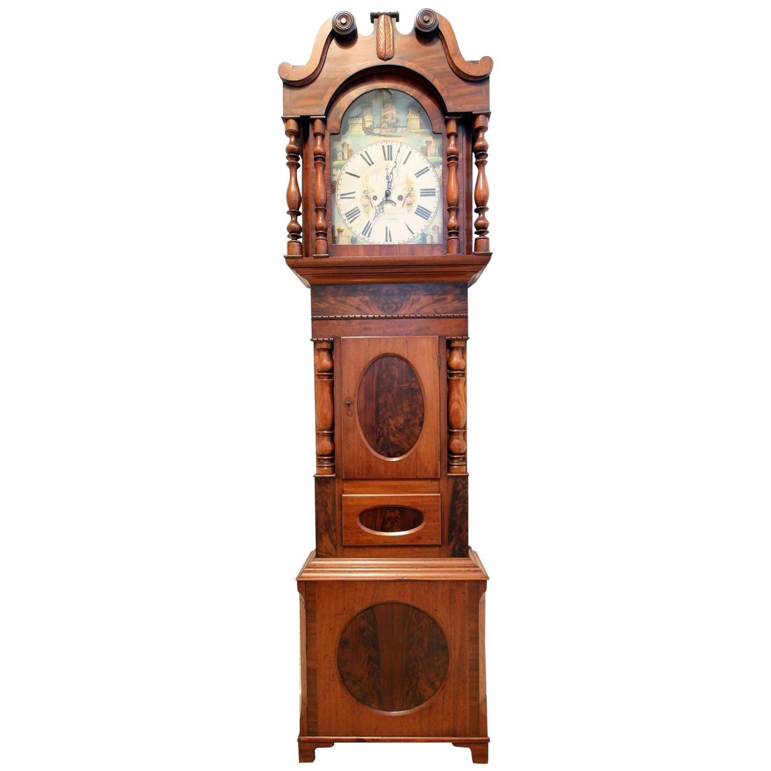 Tall Case Clock in Mahogany, Bristol, England, circa 1830, Victorian