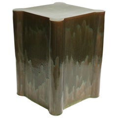Tall Castle Contemporary Ceramic Side Table in Analine Green