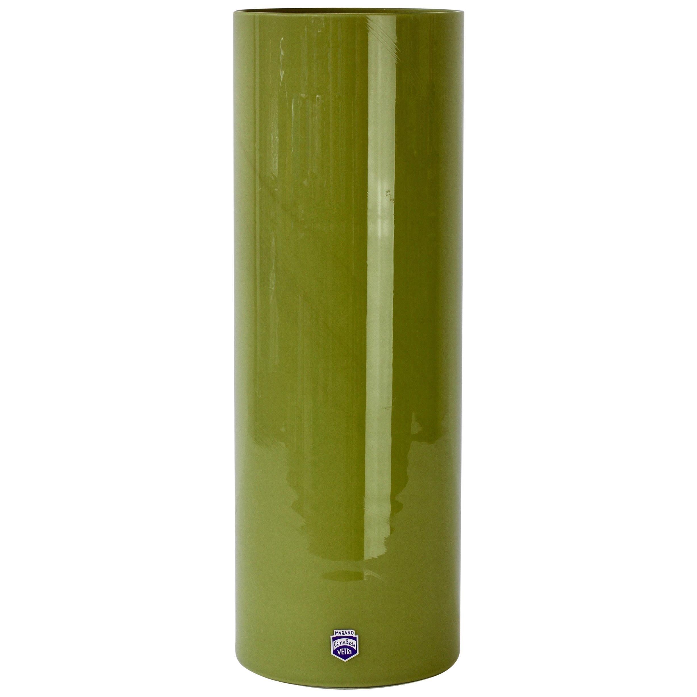 Tall Cenedese Moss Green Vintage Mid-Century Italian Murano Art Glass Vase