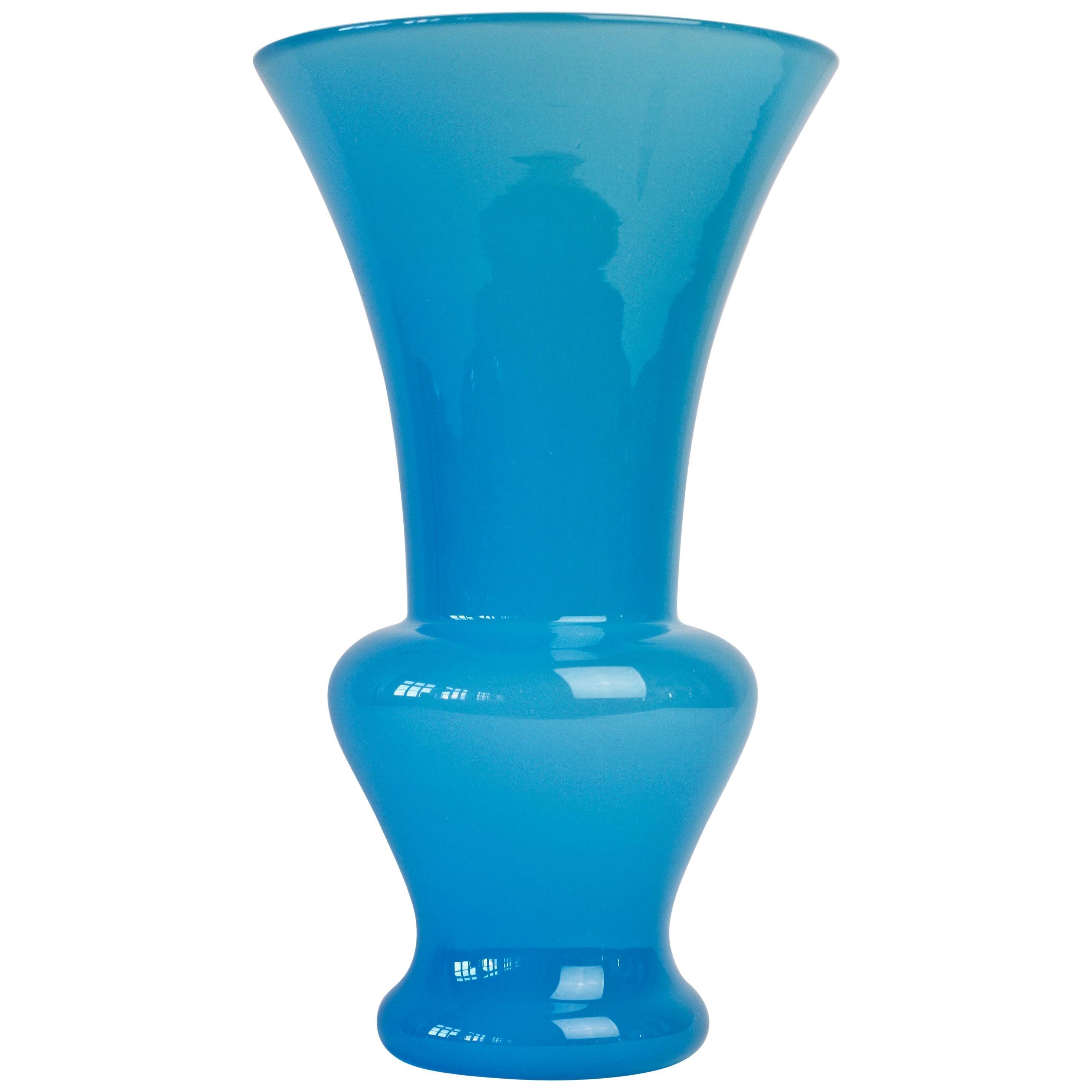 Tall Cenedese Vintage Midcentury Blue Italian Murano Glass Centrepiece Vase