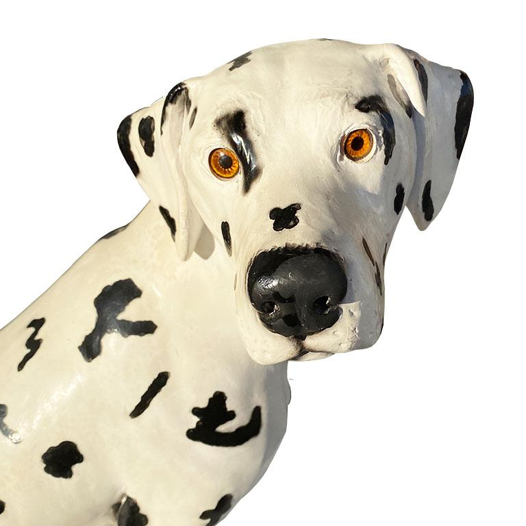 Hollywood Regency Tall Ceramic Dalmatian Dog Statue in Black and White