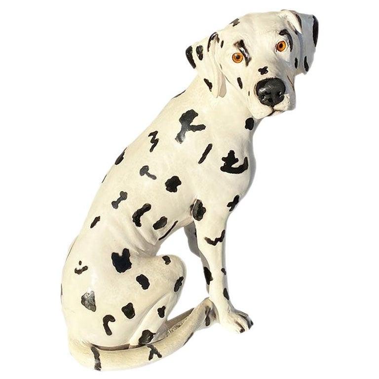Tall Ceramic Dalmatian Dog Statue in Black and White