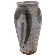 Tall Ceramic Hand Thrown Vase Signed, circa 1970s