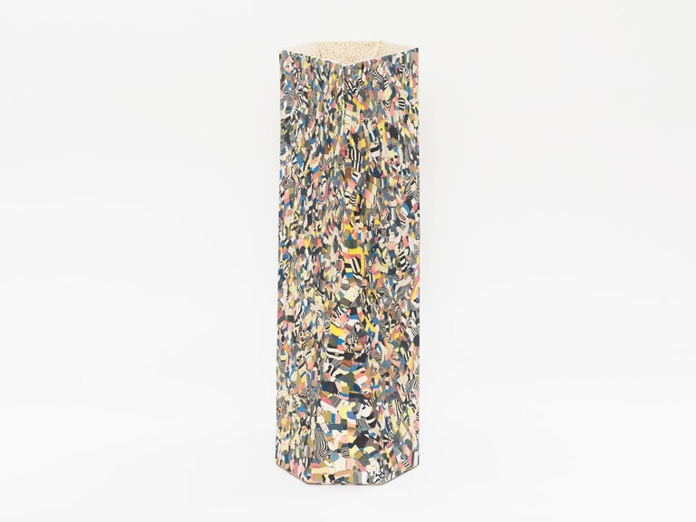 Tall hand-built, slab-constructed ceramic vase by Brooklyn-based artist Cody Hoyt. Made of inlayed and pigmented ceramics to create the geometric mosaic pattern. Glazed interior so it can hold flowers.
