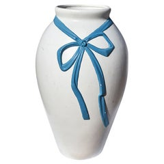 Tall Ceramic White Urn Planter with Faux Blue Bow and Ribbon, Spain