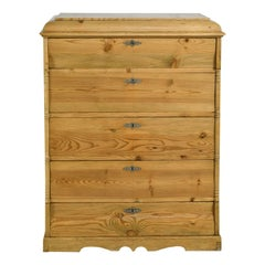 Tall Chest in Pine with Five Drawers, Northern Europe, circa 1820
